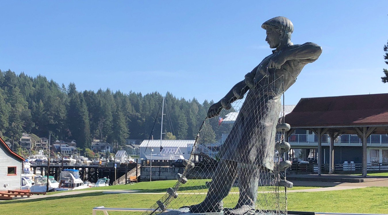 Fisherman statue at Skansie Brothers Park, adjacent to Gig Harbor Marina and Boatyard.